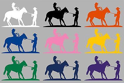 "Cowgirl Cowboy Horse Rodeo Western Car Truck Window Laptop Vinyl Decal Sticker - 13"" long edge"