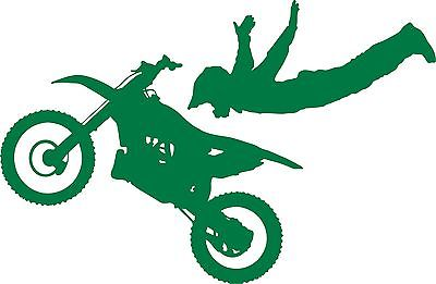 "Motorcycle Stunt Ride Bike Racing Motocross Car Truck Window Vinyl Decal Sticker - 14"" Long Edge"