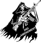 "2nd Amendment Skull Grim Reaper Rifle Gun Car Truck Window Vinyl Decal Sticker - 12"" Long Edge"