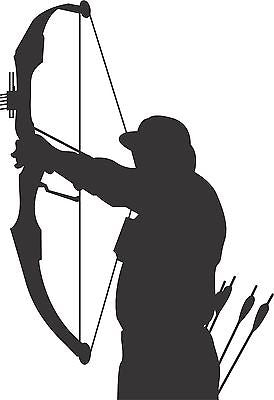 "Bow Arrow Hunt Hunting Deer Whitetail Truck Car Window Vinyl Decal Sticker - 8"" Long Edge"