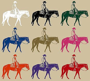 "Cowboy Riding Horse Rodeo Equestrian Car Truck Window Vinyl Decal Sticker - 9"" Long Edge"