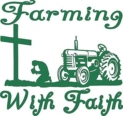 "Farm Faith Christian Cross Praying Tractor Car Truck Window Vinyl Decal Sticker - 14"" Long Edge"