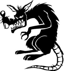"Evil Rat Mouse Animal Car Truck Window Laptop Vinyl Decal Sticker - 10"" Long Edge"