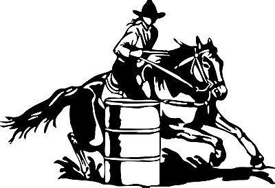 Barrel Racing Cowgirl Girl Rodeo Horse Car Truck Window Wall Vinyl Decal Sticker - 12""