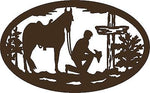 "Christian Cowboy Horse Cross Car Truck Window Laptop Sign Vinyl Decal Sticker - 11"" Long Edge"