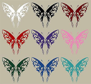 "Butterfly Tribal Flame Design Truck Car Window Laptop Vinyl Decal Sticker - 10"" Long Edge"