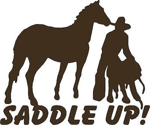 "Cowboy Horse Rodeo Western Saddle Farm Truck Car Window Vinyl Decal Sticker - 12"" Long Edge"