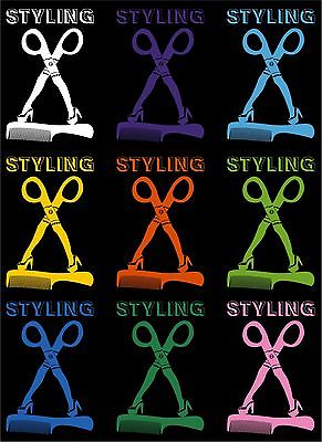 "Hair Styling Beauty Nail Salon Scissors Car Truck Window Vinyl Decal Sticker - 14"" long edge"