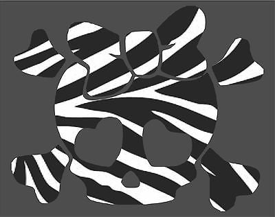 Girl Skull Crossbones 3 Zebra Print Car Truck Window Laptop Vinyl Decal Sticker - 10""
