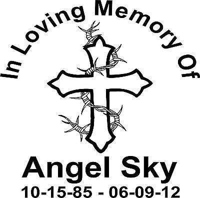 "Custom In Memory of Cross Barb Wire Car Truck Window Vinyl Decal Sticker - 14"" Long Edge"