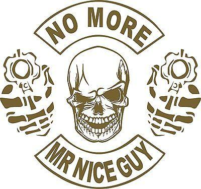 "2nd Amendment Skull Gun No More Mr Nice Guy Car Truck Window Vinyl Decal Sticker - 10"" Long Edge"