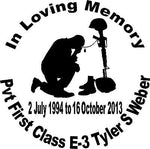 "In Loving Memory Soldier Army Navy Military Car Truck Window Vinyl Decal Sticker - 14"" Long Edge"