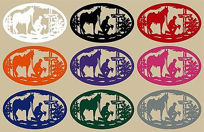 "Christian Cowboy Horse Cross Car Truck Window Laptop Sign Vinyl Decal Sticker - 13"" Long Edge"