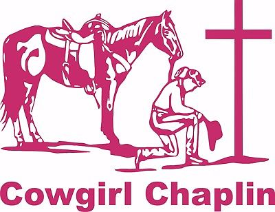 Chaplin Cowgirl Praying Horse Car Truck Window Laptop Vinyl Decal Sticker - 12""