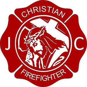 "Cross Jesus Christ Firefighter Christian Fireman Car Truck Window Vinyl Decal - 10"" Long Edge"