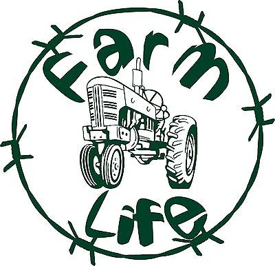 "Farm Life Tractor Barb Wire Country Car Truck Trailer Window Vinyl Decal Sticker - 14"" Long Edge"