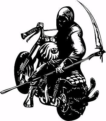 "Motorcycle Grim Reaper Bike Biker Car Truck Window Vinyl Decal Sticker - 13"" Long Edge"