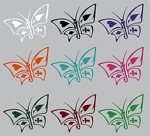 "Butterfly Cards Heart Club Diamond SpadesTruck Car Window Vinyl Decal Sticker - 10"" Long Edge"