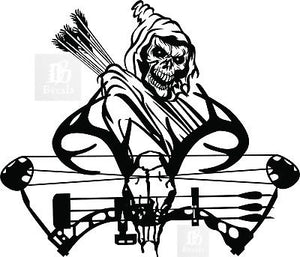 "Grim Reaper Hunter Bow Hunting Deer Skull Car Truck Window Vinyl Decal Sticker - 10"" Long Edge"