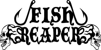 "Fish Reaper Skull Fishing Hooks Flame Car Boat Truck Window Vinyl Decal Sticker - 16"" x 8"""