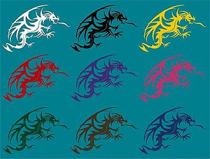 "Dragon Mythical Fantasy Creature Art Car Truck Window Laptop Vinyl Decal Sticker - 10"" long edge"