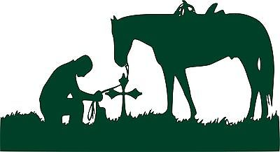 "Christian Cowboy Horse Cross Praying Car Truck  Window Vinyl Decal Sticker - 7"" Long Edge"