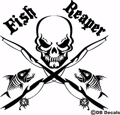 "Fish Reaper Skull Fishing Rod Car Boat Water Truck Window Vinyl Decal Sticker - 11"" x 11"""