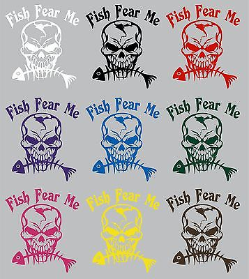 "Fish Fear Me Fishing Skull Skeleton Car Boat Truck Window Vinyl Decal Sticker - 13"" Long Edge"
