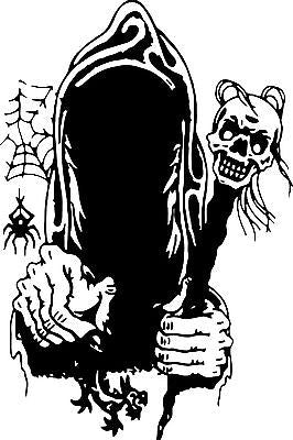 "Grim Reaper Skull Monster Car Boat Truck Window Laptop Vinyl Decal Sticker - 11"" Long Edge"