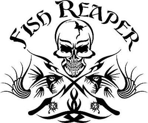 "Fish Reaper Skull Tribal Fishing Rod Car Boat Truck Window Vinyl Decal Sticker - 14"" Long Edge"