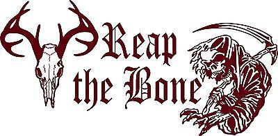 "Reap The Bone Grim Reaper Deer Whitetail Hunter Truck Window Vinyl Decal Sticker - 16"" x 8"""
