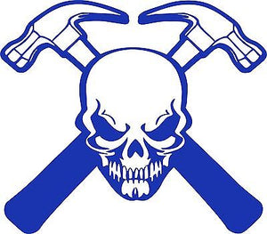 "Carpenter Skull Construction Hammer Builder Car Truck Window Vinyl Decal Sticker - 8"" Long Edge"