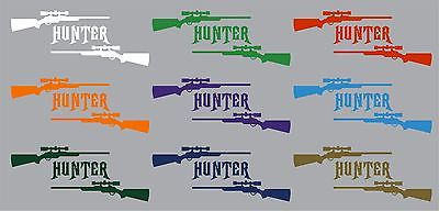 "Gun Hunter Hunting Deer Buck Rifle Car Truck Window Vinyl Decal Sticker - 10"" Long Edge"