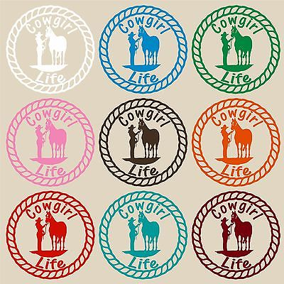 "Cowgirl Life Horse Rope Rodeo Farm Car Truck Trailer Window Vinyl Decal Sticker - 12"" Long Edge"