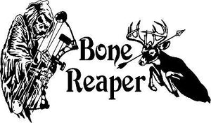 "Grim Reaper Bow Arrow Hunting Bone Skeleton Truck Window Vinyl Decal Sticker - 21"" Long Edge"
