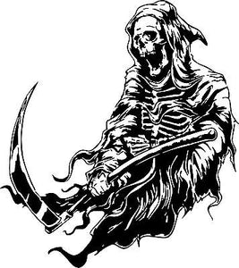 "Grim Reaper Scythe Dr Death Monster Car Truck Window Laptop Vinyl Decal Sticker - 14"" Long Edge"