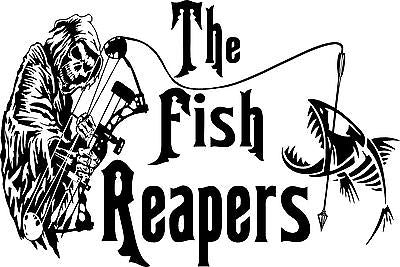 "Grim Reaper Fish Bow Arrow Hunting Skeleton Truck Window Vinyl Decal Sticker - 22"" Long Edge"
