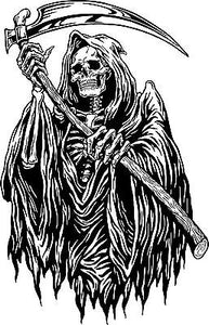 "Grim Reaper Monster Zombie Death Scythe Truck Window Wall Vinyl Decal Sticker - 14"" Long Edge"