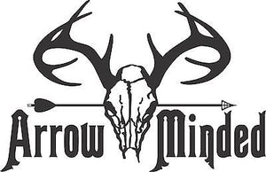 "Bow Arrow Hunting Deer Skull Whitetail Hunter Truck Window Vinyl Decal Sticker - 10"" Long Edge"