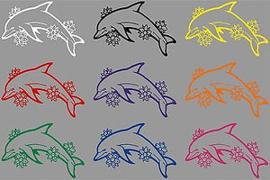 "Dolphin Flowers Ocean Fish Animal Car Truck Window Laptop Vinyl Decal Sticker - 8"" long edge"