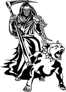 "Grim Reaper Dog Chain Scythe Creature Monster Window Laptop Vinyl Decal Sticker - 16"" Long Edge"