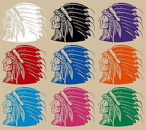 "Native American Indian Warrior Headdress Car Truck Window Vinyl Decal Sticker - 10"" Long Edge"