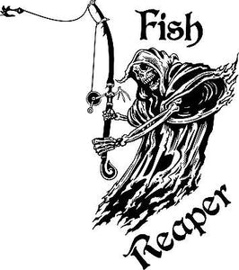 "Fish Grim Reaper Fishing Rod Hook Car Boat Truck Window Vinyl Decal Sticker - 18"" Long Edge"