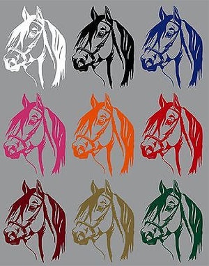 "Horse Head Cowboy Rodeo Western Car Truck Trailer Window Vinyl Decal Sticker - 22"" Long Edge"