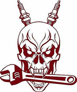 "Auto Mechanic Skull Spark Plug Wrench Tools Garage Shop Vinyl Decal Sticker - 7"" Long Edge"