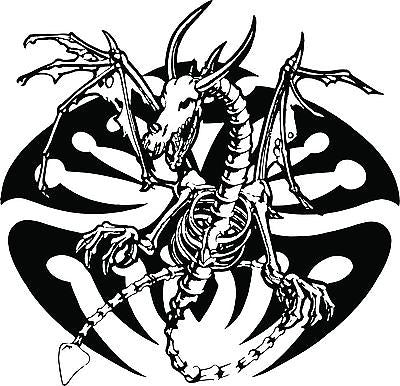"Dragon Tribal Skeleton Creature Car Truck Window Laptop Vinyl Decal Sticker - 7"" long edge"