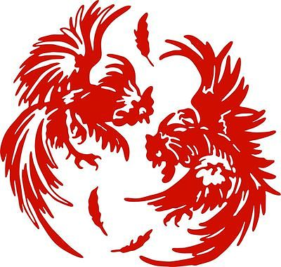"Fighting Chicken Rooster  Farm Car Truck Window Laptop Sign Vinyl Decal Sticker - 5"" Long Edge"
