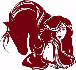 "Horse Girl Cowgirl Western Rodeo Lady Woman Car Truck Window Vinyl Decal Sticker - 11"" Long Edge"