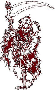 "Grim Reaper Skull Scythe Skeleton Death Car Truck Window Vinyl Decal Sticker - 14"" long edge"