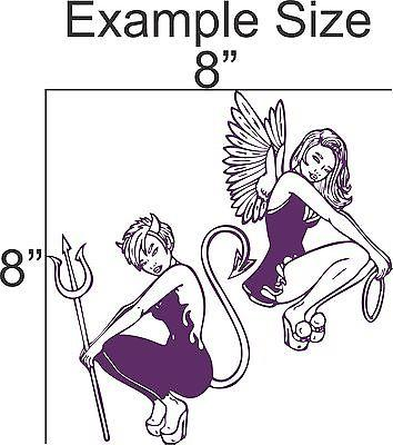 "Angel Devil Girls Car Truck Window Vinyl Decal Sticker - 8"" Long Edge"